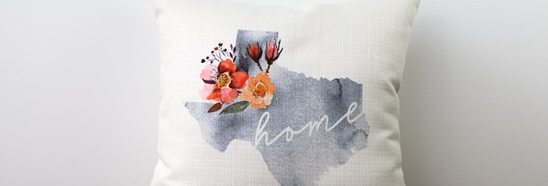 Warm Floral Watercolor State Pillow