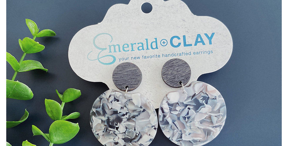 Acrylic Round Earrings - Gray Marble