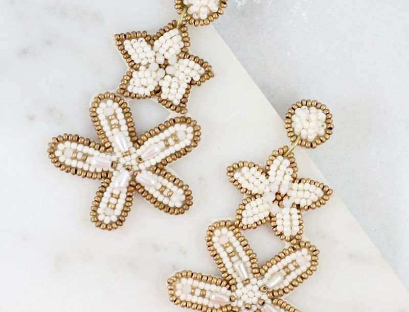 Starfish Bead Earrings (Ivory)