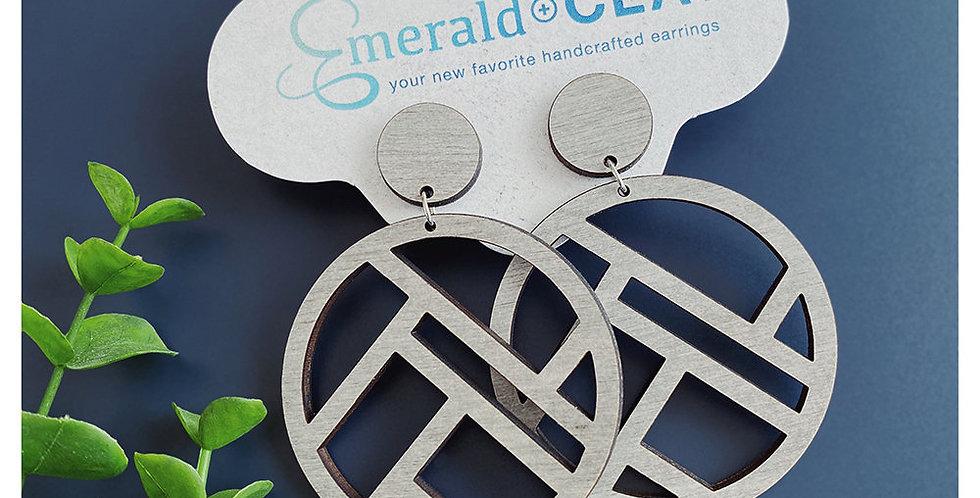 Mondrian Circle Wood Earrings - Whitewash
