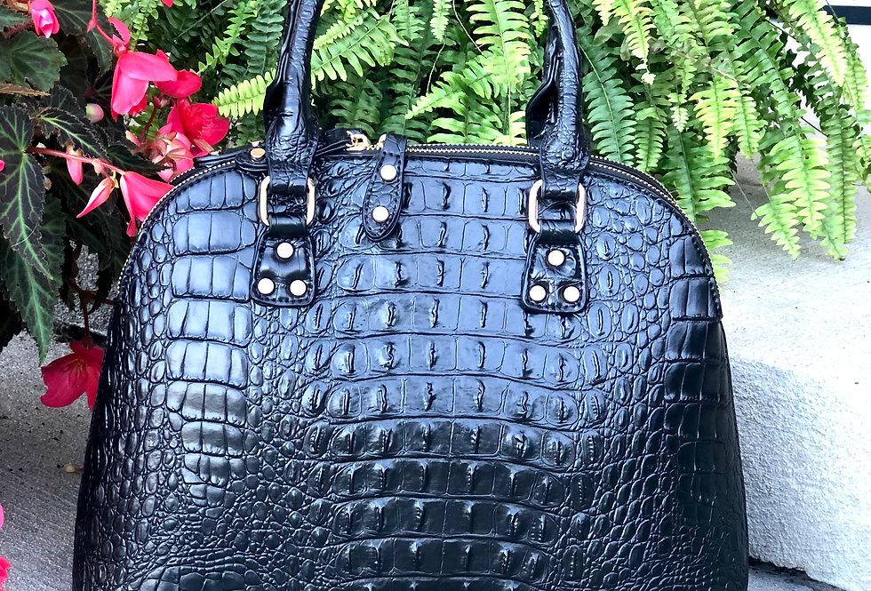 Ostrich-Croc Vegan Leather Tote (Black)