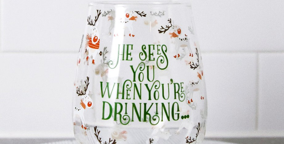 He Sees You - Wine Glass