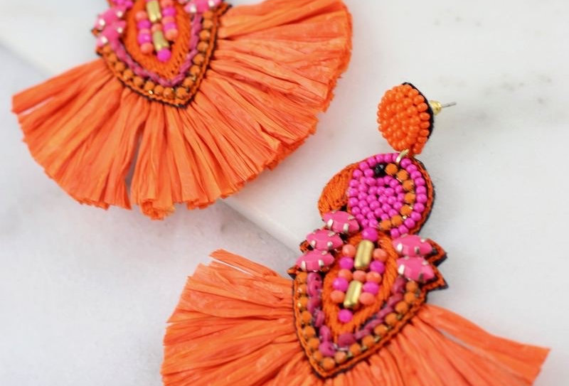 Embellished Parrot Post Earrings Orange