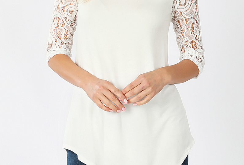 Lace Half Sleeve Top (Ivory)