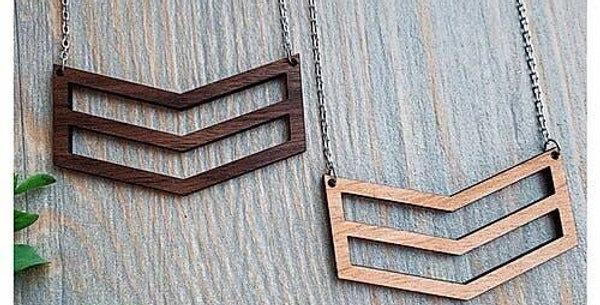 Double Chevron Necklace - Black Walnut