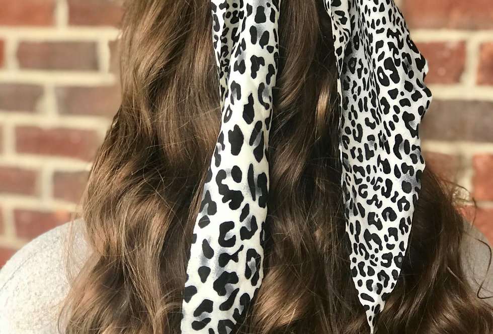 Leopard Print Hair Scarf (Black and White)