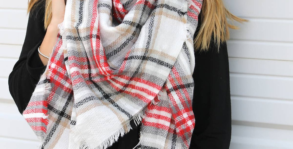 Blanket Scarf - Red and Black Plaid