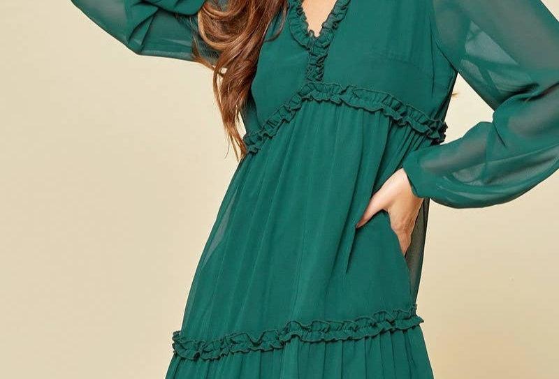Hunter Green Babydoll Dress