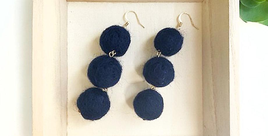 Pom Pom Delight Earrings (Navy)