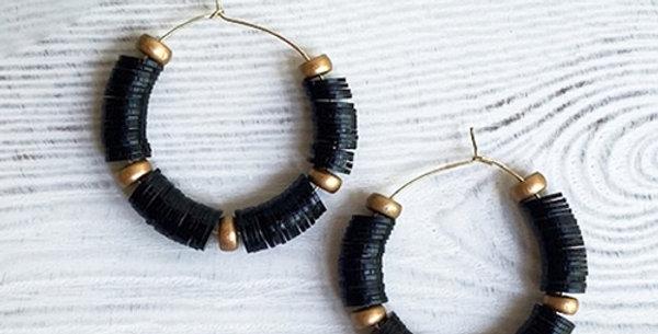 Victoria Hoop Earrings (Black)