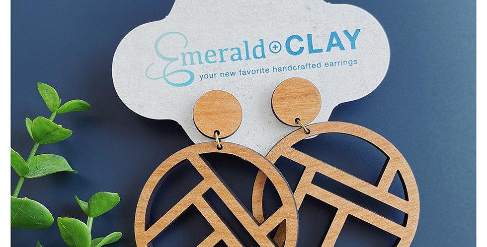 Mondrian Circle Wood Earrings - Alder