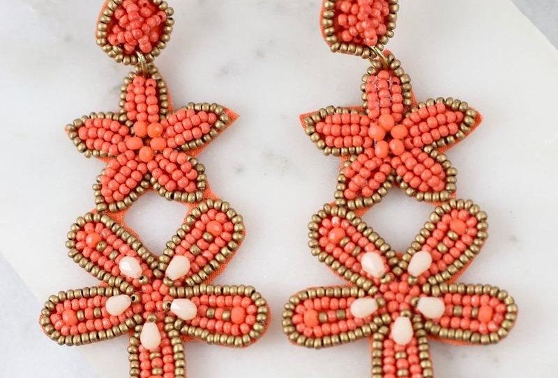 Starfish Bead Earrings (Coral)