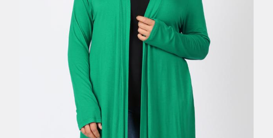 Drapey Long Sleeve Cardigan (Kelly Green)