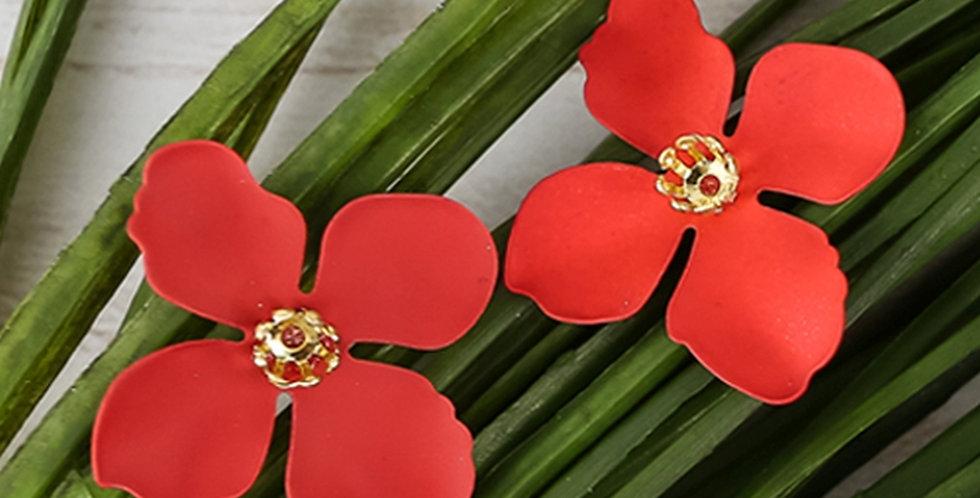 Flower Petal Post Earrings (Coral)