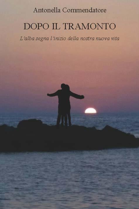 foto di un tramonto con due figure umane che si abbracciano
