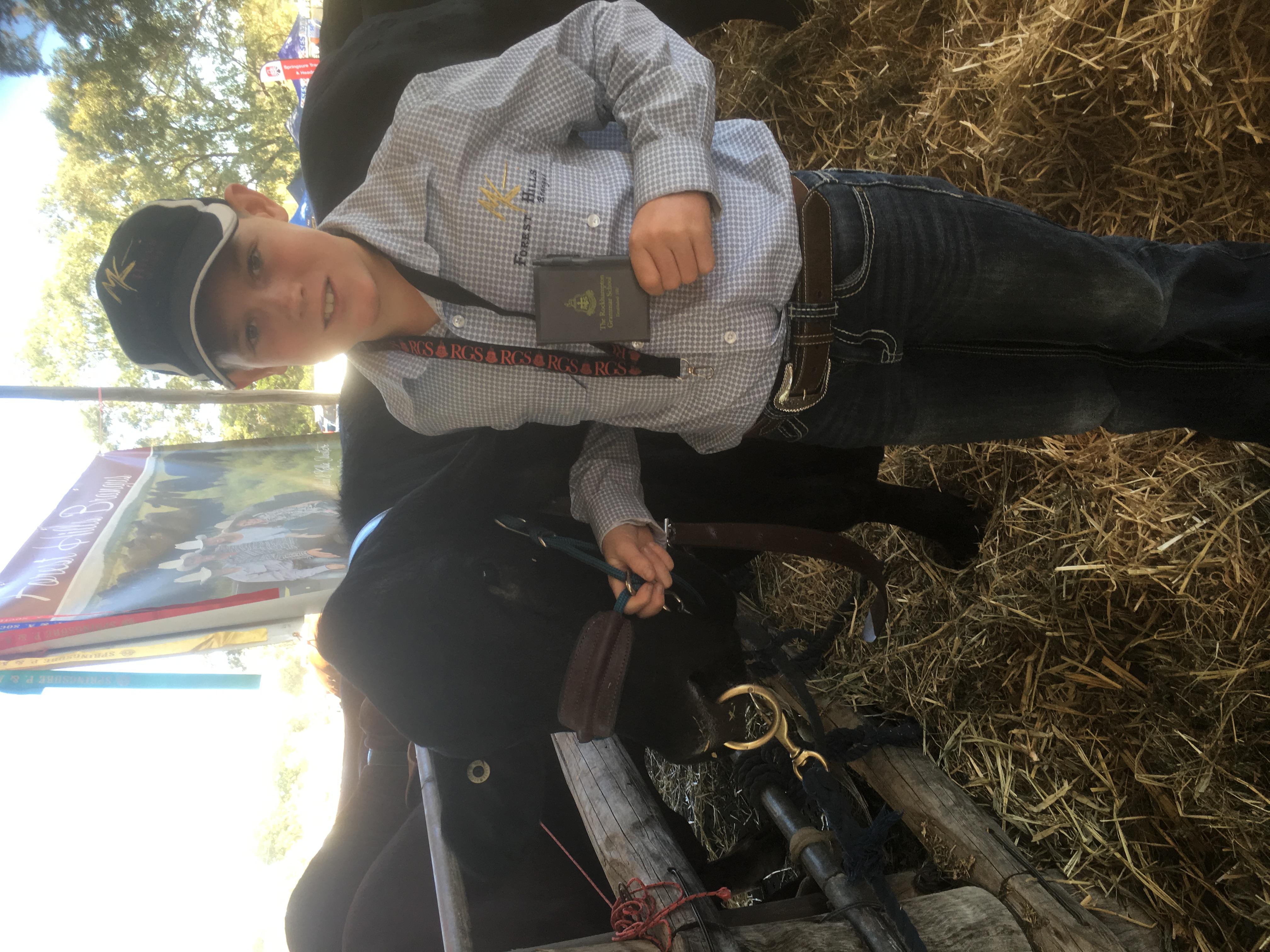Jayden Silvester with Brangus Bull
