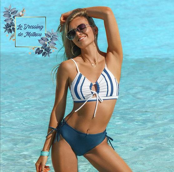Bikini Bleu/Gris & Blancs à lacets