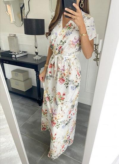 Robe Longue Non Fendue Blanc & Fleurs