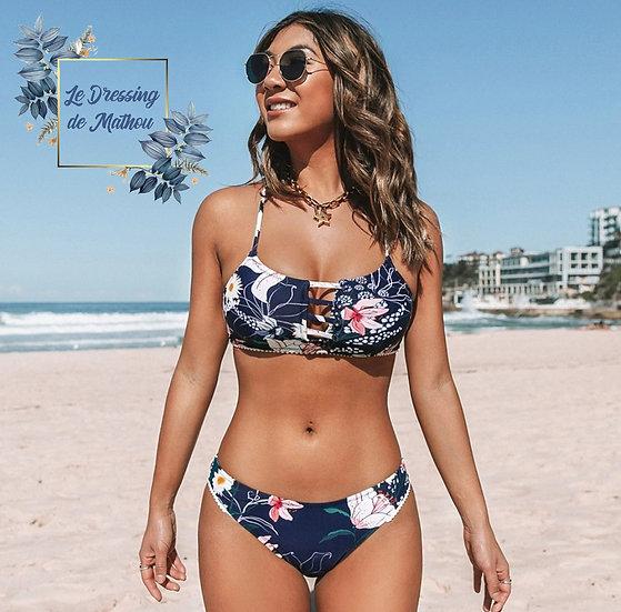Bikini Marine & Fleurs Liseré Blanc