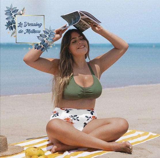 Bikini Kaki & Bas Blanc Fleuri