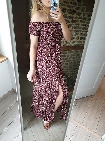 Robe longue fendue Bordeaux