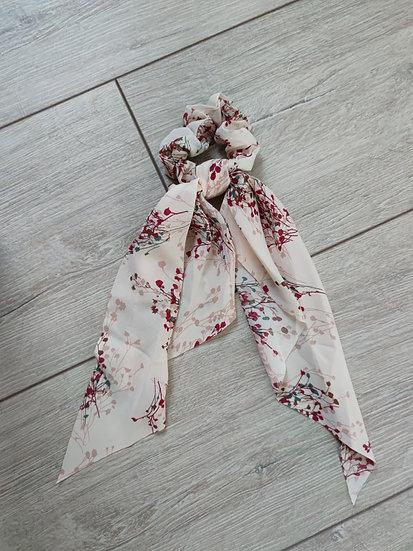 Chouchou Long Imprimé Fleurs Rose