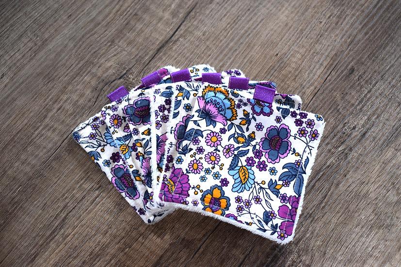 Lingettes Oeko-Tex Fleurs Violet * 6