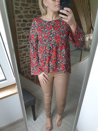 Blouse Fleurie Rouge et Vert