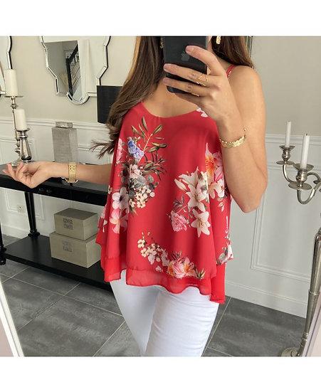 Top Rouge & Fleurs
