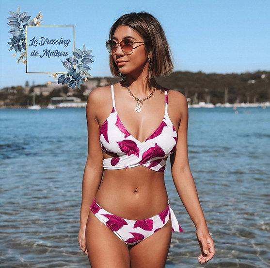 Bikini Blanc & Feuilles Rouge