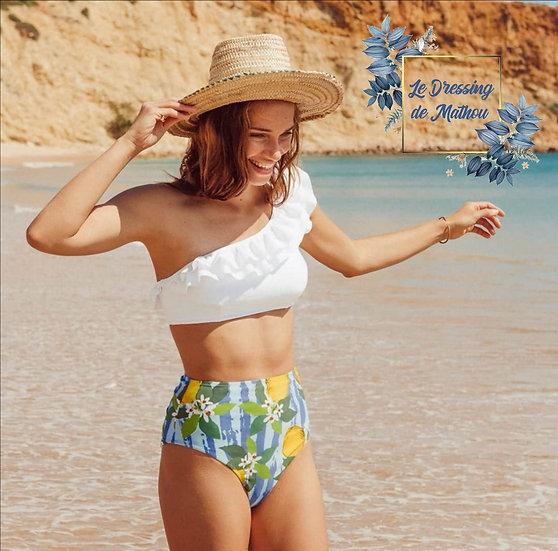 Bikini Maxi Taille Haute Volants & Citron