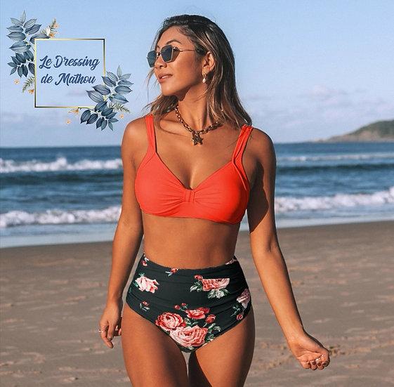 Bikini Orange & Bas Noir Fleuri
