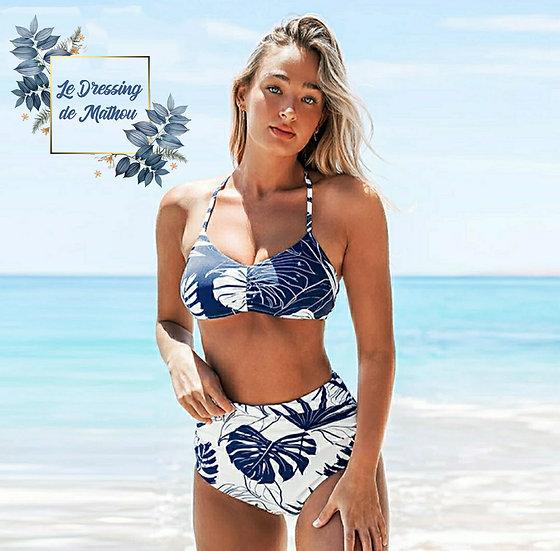 Bikini Bleu et Blanc Feuilles Réversible