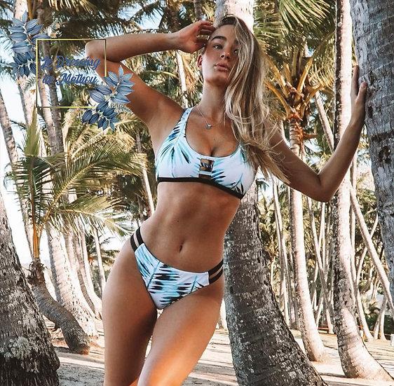 Bikini Blanc Motif Feuilles Bleu & Noir
