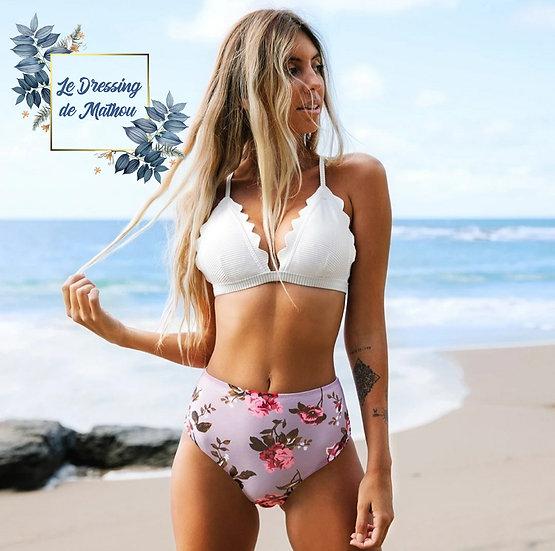 Bikini Blanc Festonné Bas Lila