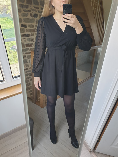 Robe Noire Manches Tulles Pois