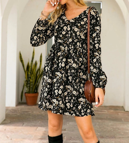 Robe Noire Imprimé Floral