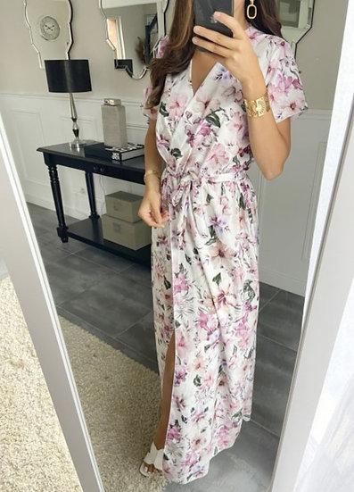 Robe Longue Fendue Blanc & Hibiscus