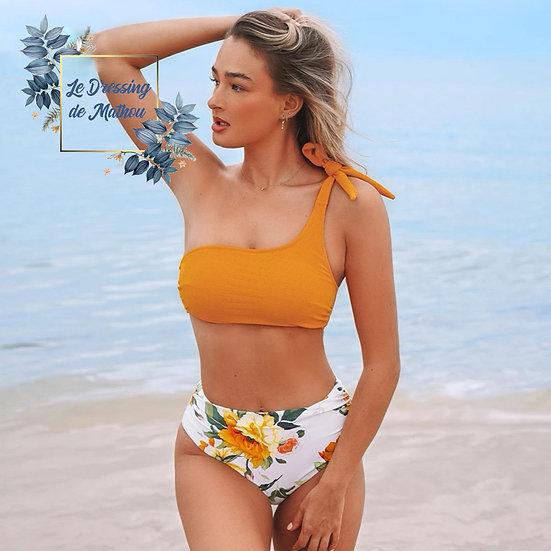 Bikini Jaune & Bas Blanc Fleuri Asymétrique