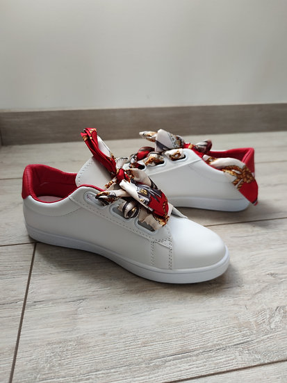 Baskets Blanc/Rouge Rubans