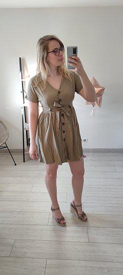 Robe façon lin Kaki