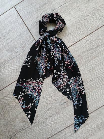 Chouchou Long Imprimé Fleurs Noir