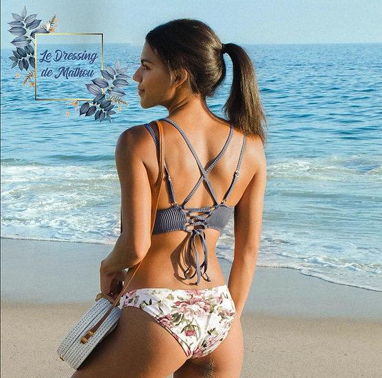 Bikini Gris Fer & Fleurs Pastel
