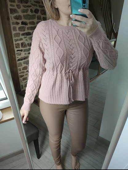 Pull Coupe Péplum Rose