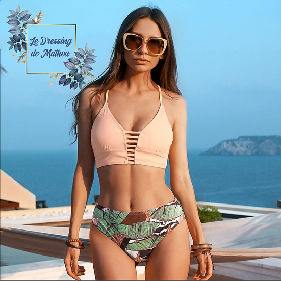 Bikini Corail & Motif Feuilles