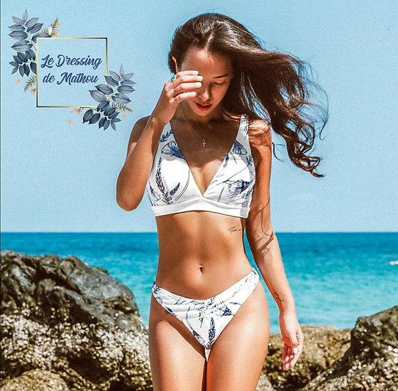 Bikini Blanc & Motifs Marine