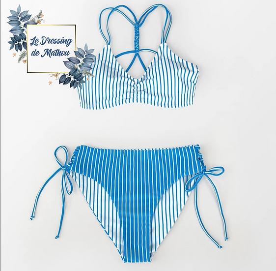 Bikini Rayé Bleu Clair & Blanc