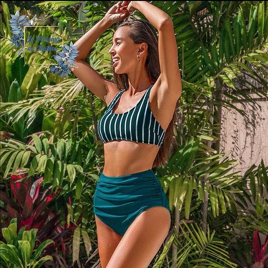 Bikini Vert Rayé