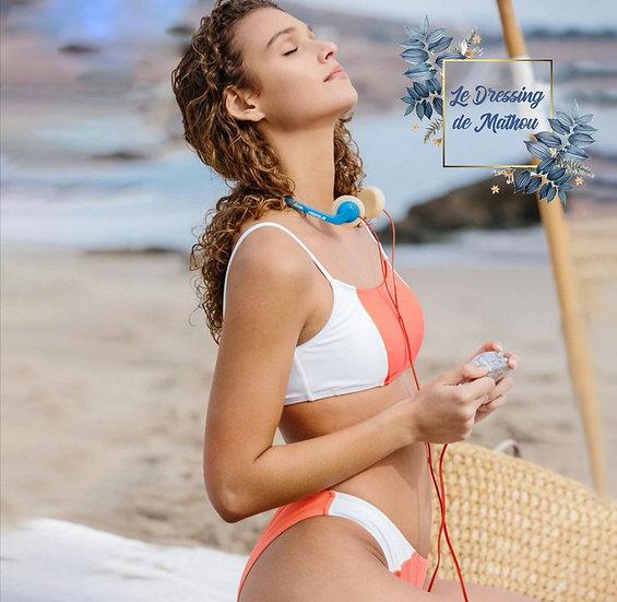 Bikini ColorBlock Corail & Blanc