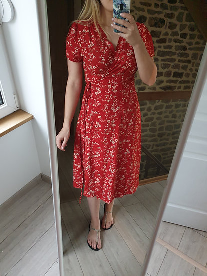 Robe Rouge Porte-feuille Fleuri Blanc
